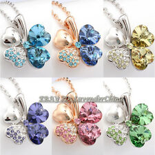 A1-P439 Fashion Heart-shaped Petal Clavicle Chain Necklace Pendant 18KGP Crystal
