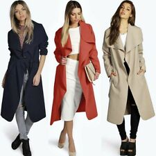 NEW Women Slim Long Lapel Cardigan Coat Jacket Trench Windbreaker Parka Outwear