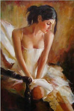 Hand-painted Portrait Oil Painting Wall Art on Canvas,Woman,NUDE GIRL 24x36inh