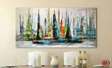 LARGE OIL PAINTING MODERN ABSTRACT WALL DECOR ART ON CANVAS Color sailing 24X48