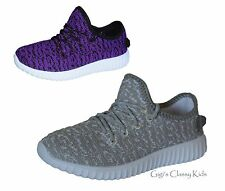 New Boys Girls Grey Purple Sneakers Tennis Shoes Loafers Casual Athletic Kids