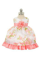 New Baby Girls Coral Dress Wedding Pageant Party Easter Fancy Flower Girls