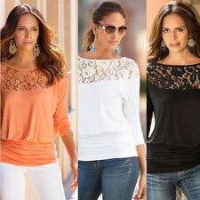 Fashion Womens Lace Crochet Hollow Casual Loose T-Shirt Long Sleeve Blouse Tops