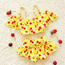 2pcs Kids Girls Lovely Cherry Ruffles Bikini Set Swimwear Bathing Swimsuit 3-9T