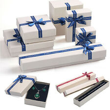 Newly Boxes Case Ribbon Bowknot For Bangle Jewelry Ring Earrings Wrist Watch Box