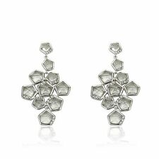 Cubic Zirconia Accented Clear Faceted Crystal Stones Chandelier Dangle Earring