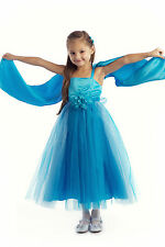 Long Satin Tulle Birthday Party Junior Bridesmaid Wedding Flower Girl Dress Gown
