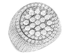 Mens Sterling Silver White Gold Lab Diamond 3D Round Pave Pinky Engagement Ring