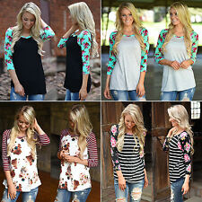 Chic Women Lady Floral Blouse Shirt Casual Loose T-Shirt Long Sleeve Jumper Tops