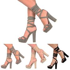 WOMENS LADIES BLOCK HIGH HEEL PLATFORM TIE LACE UP ANKLE STRAPPY PARTY SHOES 3-8