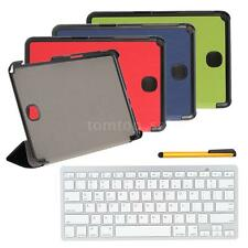 For Samsung Galaxy Wireless Bluetooth Keyboard PU Leather Case Stylus Pen E0S4