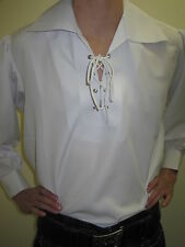 NEW WHITE JACOBITE GHILLIE KILT SHIRT Small, Med, Large, XL, 2XL, 3XL, 4XL