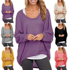 Womens Ladies Long Sleeve Batwing Crew Neck Casual Loose T-Shirt Tops Blouse