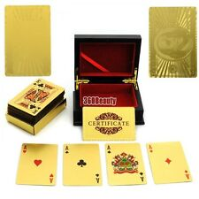 24K Gold Leaf Playing Cards  Poker Set 99.9% Pure Gold With Mahogany Box 54 Card