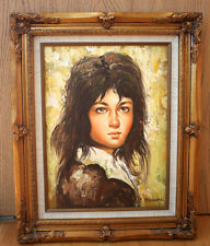 Original Oil Painting on Canvas - Young Girl Portrait, Signed by Bissard