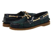 BRAND NEW SPERRY TOP-SIDER A/O 2-EYE WOOL PLAID BOAT SHOES NAVY/GREEN