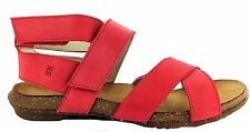 El Naturalista N449 Womens Red Grosella Leather Open Toe Ankle Strap Sandals New