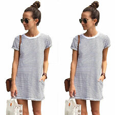 Womens Tunic Crew Neck Short Sleeve Striped Party Loose T-Shirt Mini Dress Tops