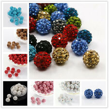 100 pcs Pave Disco Ball Beads Polymer Clay Rhinestone Beads All Colours 10mm