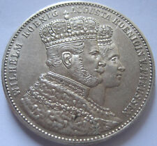 GERMANY PRUSSIA  WILHELM I SILVER THALER CORONATION  1861 UNCIRCULATED
