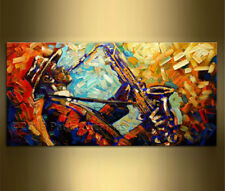 Hand-painted Art Oil Painting Wall Decor Canvas Saxophone Player 24x48""