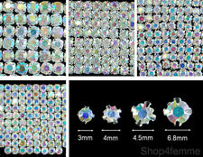 Selection of Sew On Clear AB Crystal Diamante Rhinestones (Silver Rose Montee)