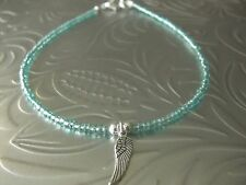 Tibetan Silver Angel Wing & Turquoise Glass Seed Bead  Anklet/Ankle Bracelet