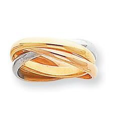 14k Tri-color Gold Polished Rolling Ring Band Ring RR3