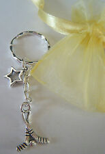 Hockey Sticks & Ball Keyring Bag Charm Star Sport Gift & Organza Bag *FREEPOST*