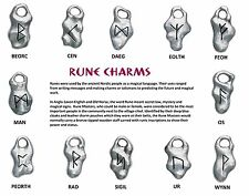 Rune Stone Pewter Charms Pendant Necklace