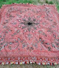 1860 KASHMIRI HAND TWILL TAPESTRY SQUARE SHAWL EMBROIDERED GATES PASHMINA