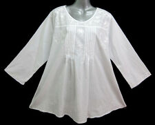 New Ethnic Indian Peasant Embroidery White Top Shirt Blouse 3/4 Sleeve L XL