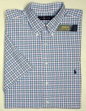NWT $98 Polo Ralph Lauren SS Shirt Mens Size 2XLT Tall Blue Pink Plaid Check NEW