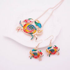 Fashion 1 sets Colorful Crab Earring Silver Plated Jewelry Sets Gift Necklace