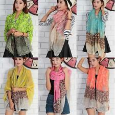 Voile Women Leopard Printed Patchwork Scarf Shawl Wrap Beach SunBlock