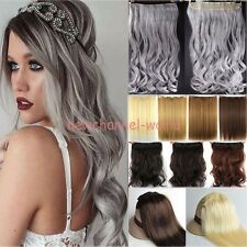 AU Straight Wavy Full Head Clip In Hair Extension Natural Long as remy hairpiece