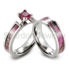 Titanium Pink Muddy Tree Camo Ring CZ Prong setting engagement wedding ring set