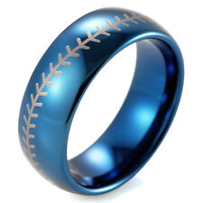 8mm Blue Dome Tungsten Ring Baseball Stitch design ring with white style laser