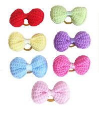 Wholesale Cute bowknot Pet Dog Hair Bows Puppy W/Rubber Bands Hair Accessories