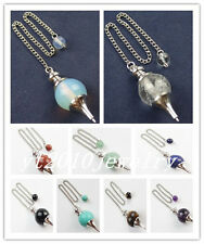Mixed Gemstone Pendulum With 8mm Round Beads Pouch Divination Healing Wicca