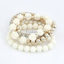 Mix Flower Beads Stretch Bracelet Temperament Alloy Resin Rhinestone Bangl CO99
