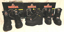 """BRAHMA, MENS 8"""" BLACK LEATHER STEEL TOE WORK BOOTS, SIZES 7, 7.5, 8, EXTRA WIDE"""