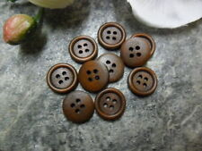 17) 10 20 Buttons Wood 15 mm 1,5 cm Dark brown Rustic Jacket Trousers