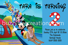 Mickey Mouse Clubhouse Personalised Photo Birthday Invite Printed with Envelope