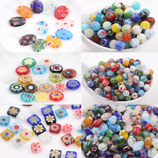 Millefiori Glass Craft  Mixed Shape Beads Multi-Color Loose Spacer Bead 20/50Pcs