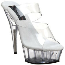 "PLEASER Women 6"" Stiletto High Heel Two Band Platform Slide On Mule DELIGHT-602"