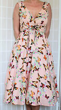 VINTAGE 50's REPRO RETRO PRINT PEACH BUTTERFLY SWING DRESS NEW SIZE 10-18
