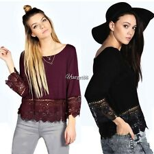 Women 3/4 Sleeve Lace Crochet Irregular Hem Casual Loose Blouse Shirt Tops UTAR