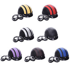Leather Motorcycle Open Face Half Helmet With Visor Goggles Apparel Brand-New
