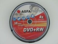 1x10 AGFA DVD+RW Rewritable 4.7GB 1x4x Cakebox (450801) NEU (worldwide) 003-466